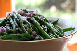 Green bean salad, and green bean pickles