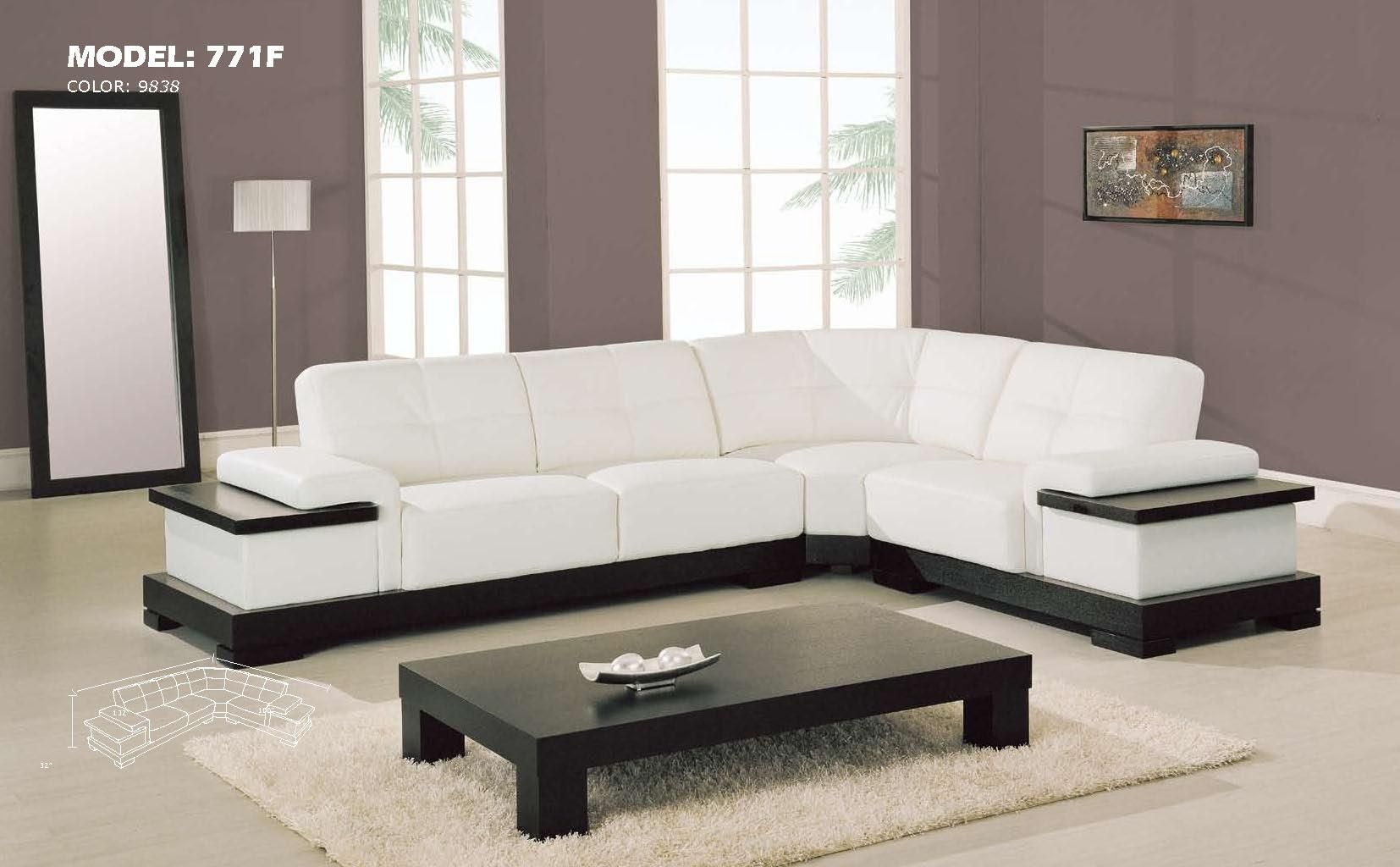 Contemporary sectional l shaped sofa design ideas for - White wooden living room furniture ...