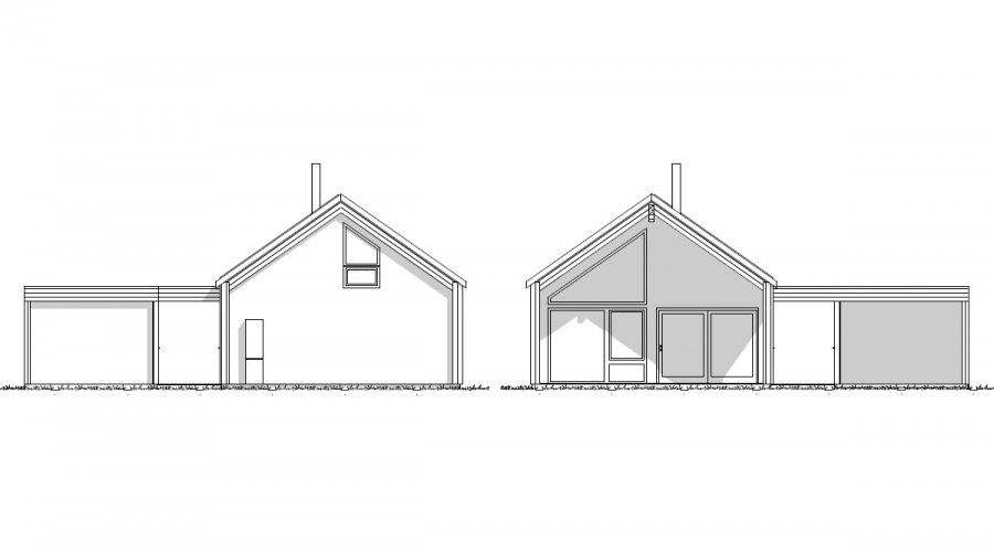 Photo of Knerten er et lite hus for flat tomt, med carport. Huset har store vinduer …