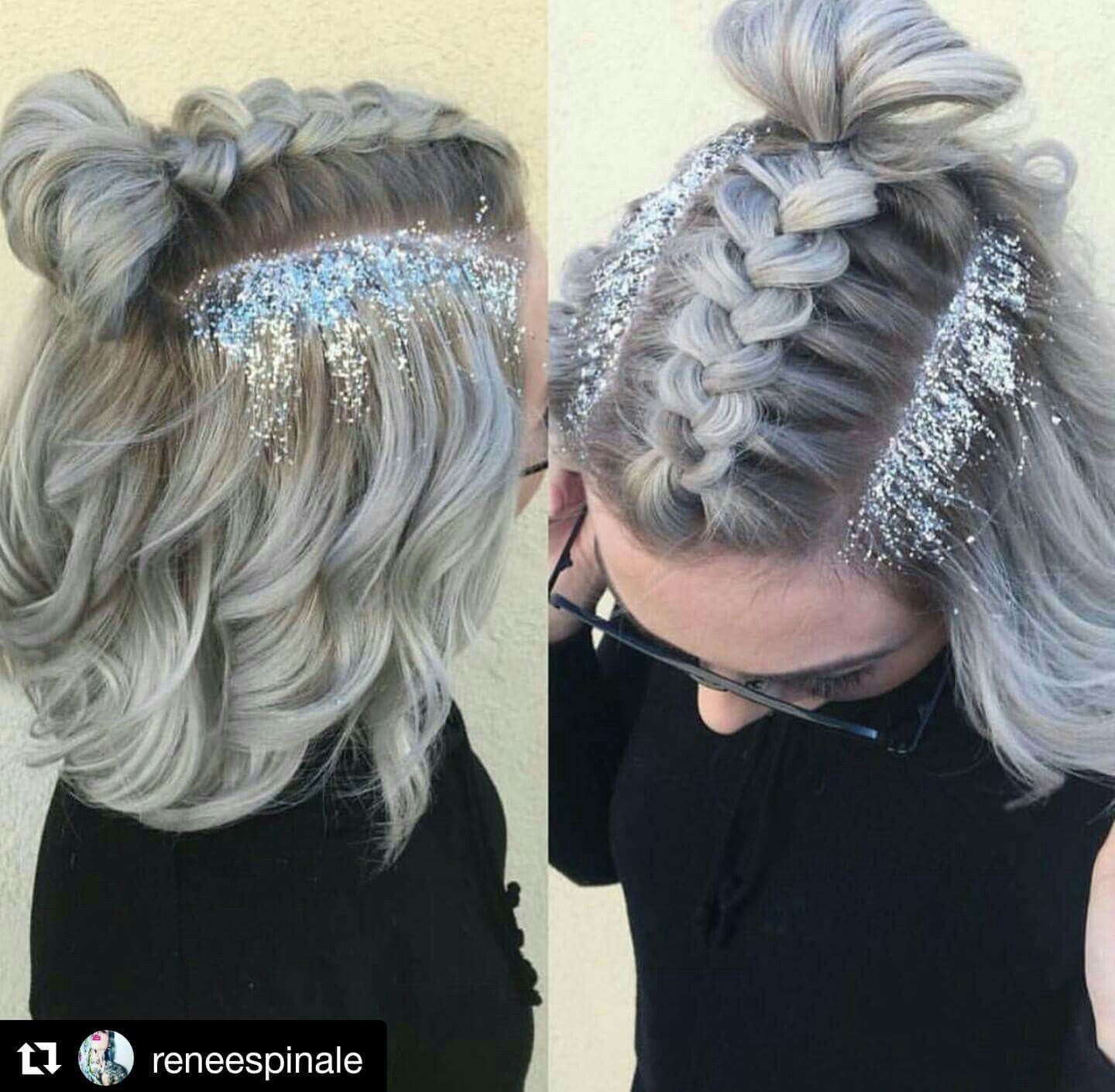 Glitter roots and braid hair nails makeup skin