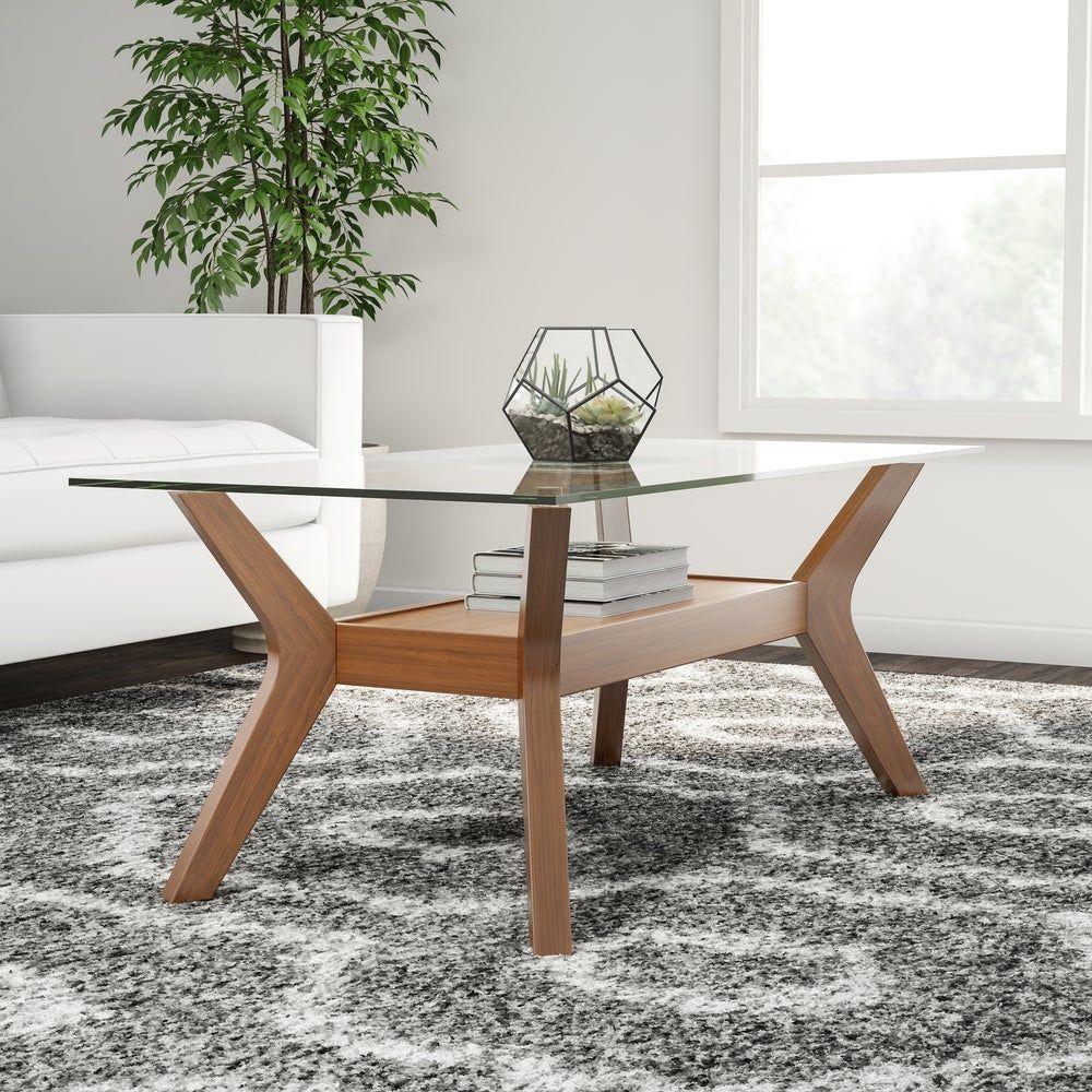 Carson Carrington Kristiansand Walnut Finished Coffee Table Shelf Rectangle Glass 3 And Coffee Table Modern Glass Coffee Table Modern Wood Coffee Table [ 1000 x 1000 Pixel ]