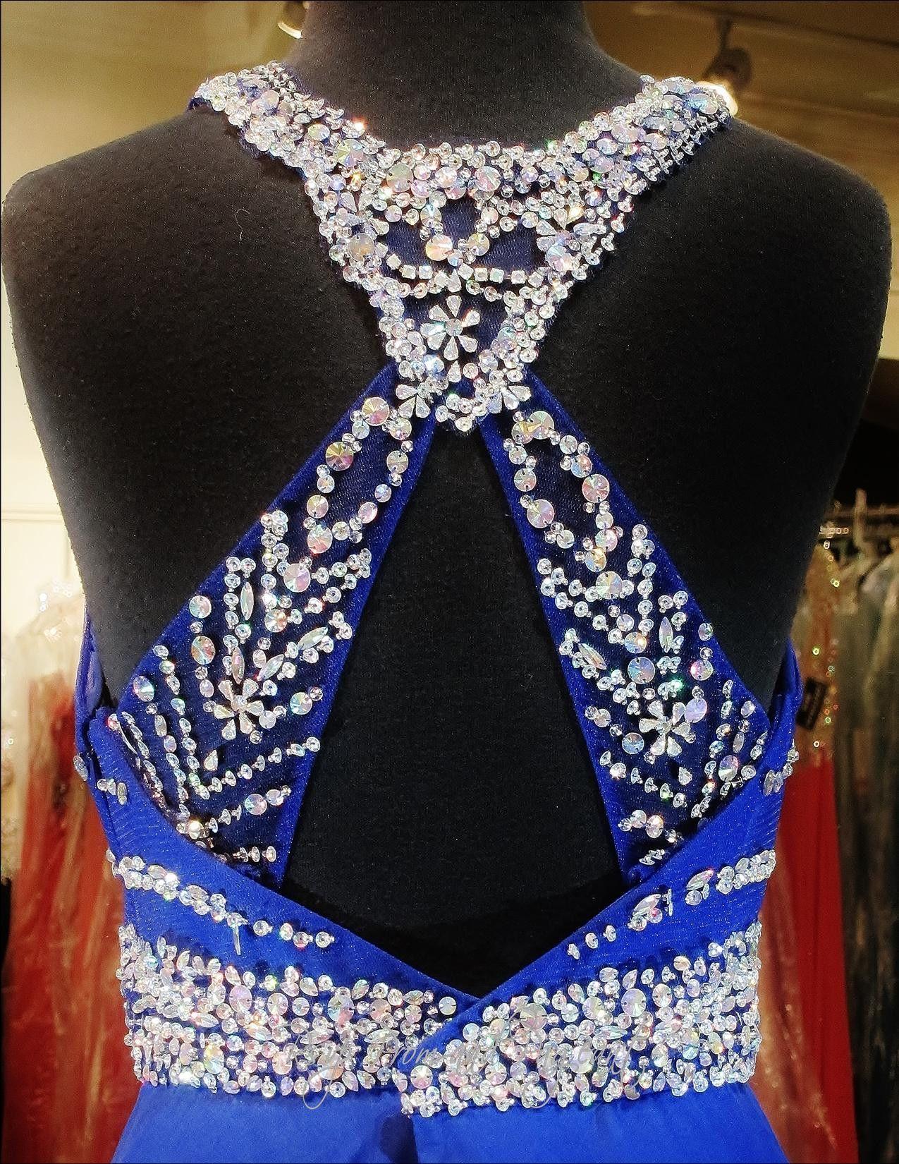 Royal blue prom dresshigh beaded neckopen backbp prom