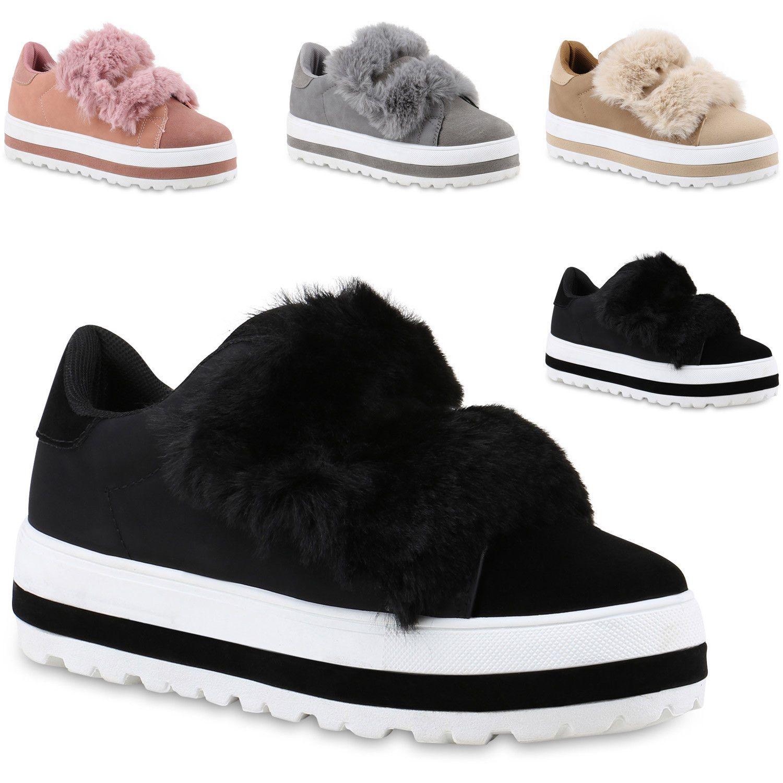 Damen Sneakers Plateau Sneaker Kunstfell Schuhe Profilsohle