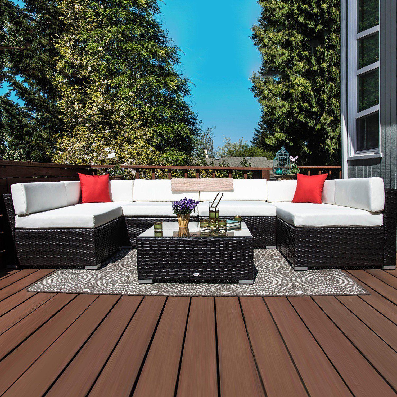 Outsunny 7 Piece Outdoor Patio PE Rattan Wicker Sofa