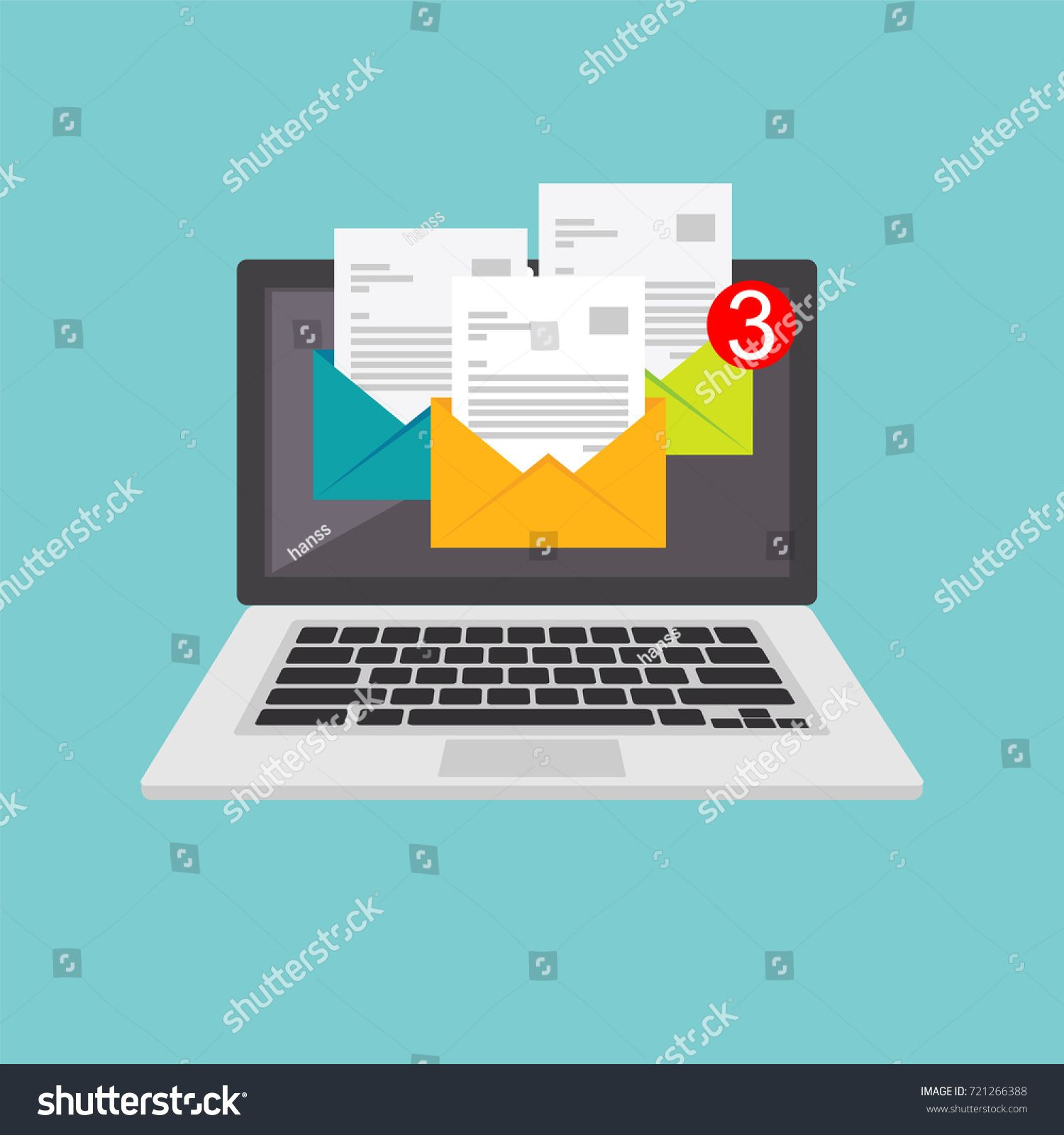Message inbox notification. Email alert. Email marketing