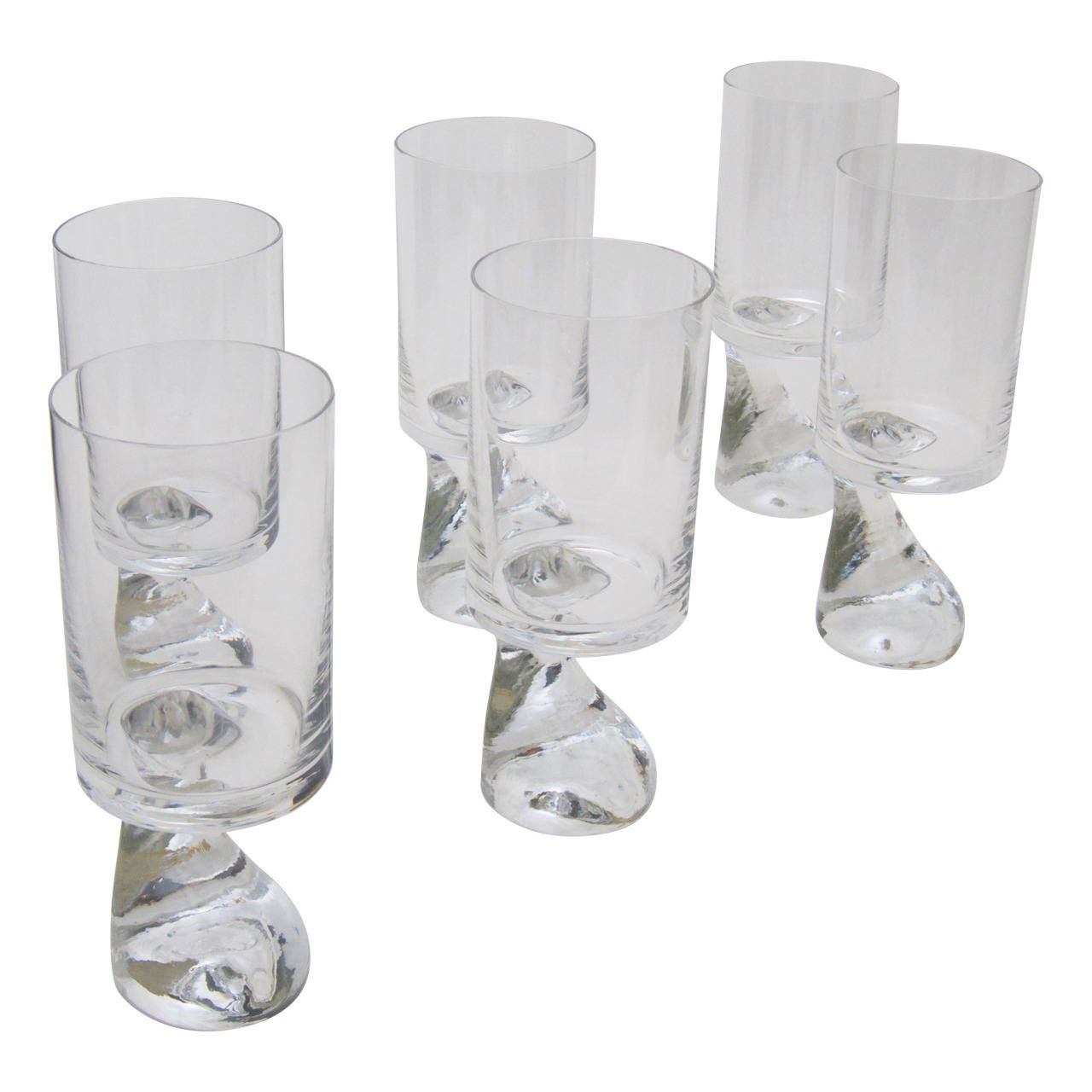 """Six """"Assimetrico"""" Glasses Designed by Joe Colombo 