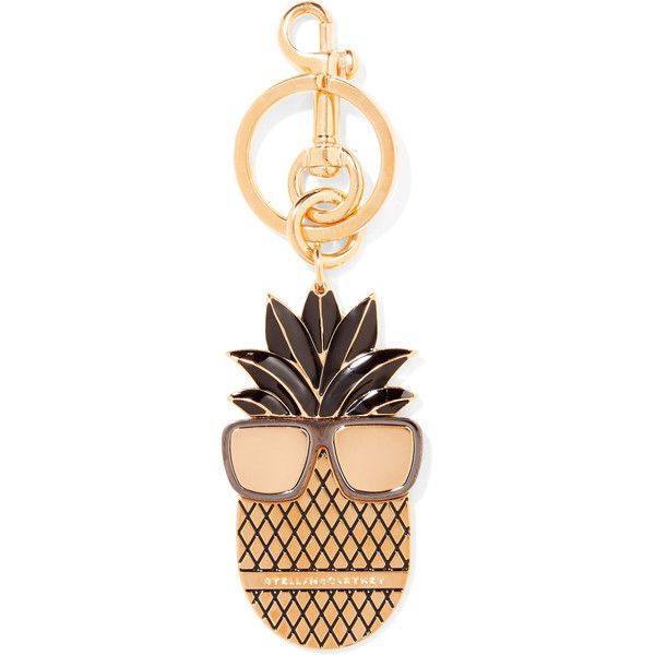 Stella McCartney Gold-tone enamel keychain ($87) ❤ liked on Polyvore featuring accessories, gold, fob key chain and stella mccartney
