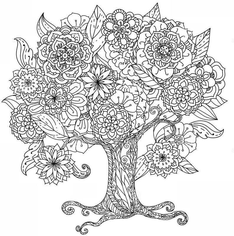 Kwiaty Dla Doroslych7 Jpg 794 800 Tree Coloring Page Designs Coloring Books Flower Coloring Pages