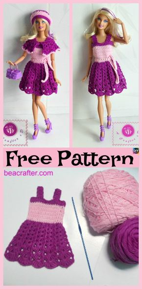 6 Pretty Crochet Doll Dress - Free Patterns #dolldresspatterns