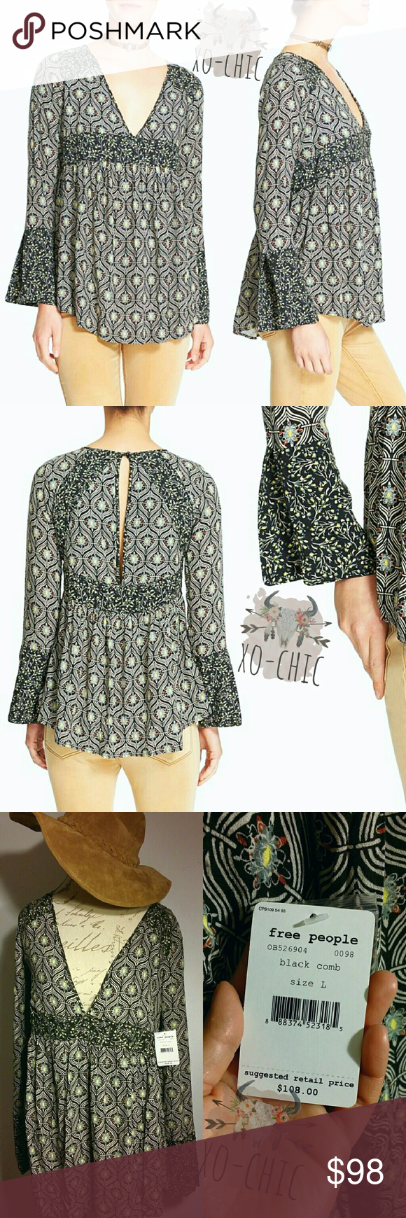 NWT L Free People Tunic Bell Sleeve Top FIRM PRICE New in Stores retails $108 NWT L size...A floaty woven tunic is perfectly breezy for warm weather and easy to layer come fall. The deep V-neckline and slender keyhole back show just enough skin, while a complementary print highlights the shoulders, Empire waist and split-cuff bell sleeves. Color: black combo, green combo. Brand: FREE PEOPLE. Free People Tops Tunics