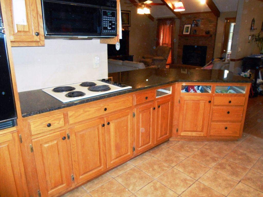 Best Coffee Brown Granite On Medium Wood Cabinets Kitchen 640 x 480
