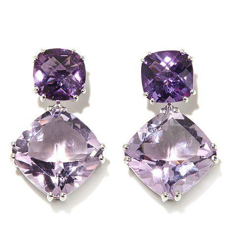 Pendientes 585 GG 14 quilates 2 amatistas lila violeta aretes h 10,0 mm nuevo