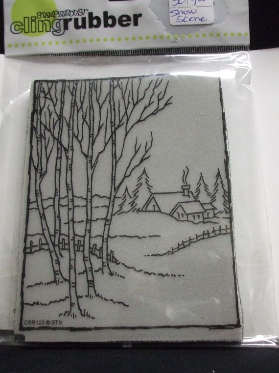 Stampendous Cling Forest Cottage Scene by inkfulthinking on Etsy, $8.00