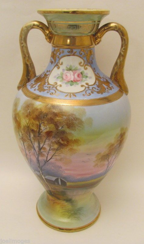 Beautiful Large 13 5 Antique Hand Painted Nippon Scenic Vase 52