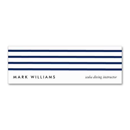 Blue simple modern #navy #nautical lines mini visit card #striped #modern #elegant #sophisticated #visitcard #businesscard #cleandesign #tarjetadevisita #customizable #personalizable