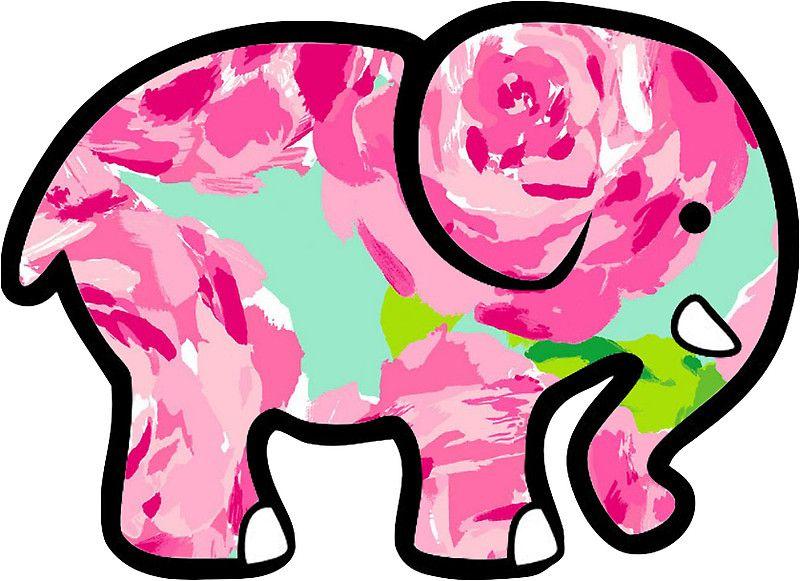 546f04270 Ivory Ella Elephant Sticker Lilly Pulitzer Inspired Print