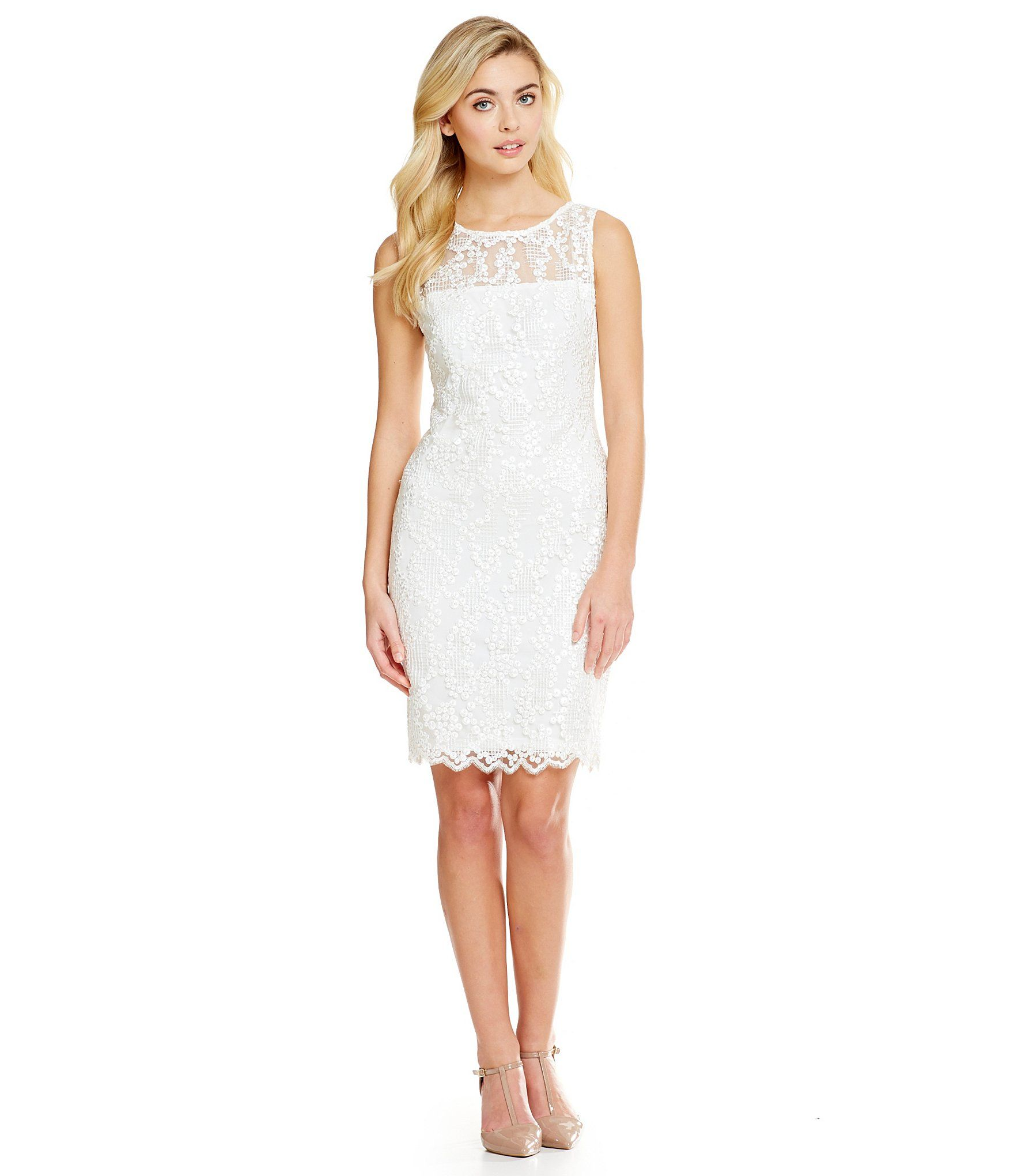 Calvin Klein Beaded Embroidered Mesh Dress | Dillards | Clothing ...