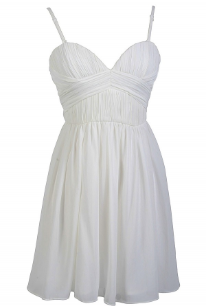 Sweet and Flirty Chiffon Designer Dress by Minuet in White  www.lilyboutique.com