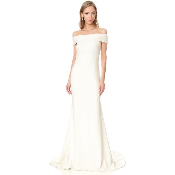 Theia Off Shoulder Crepe Gown (15675 MAD) ❤ liked on Polyvore ...