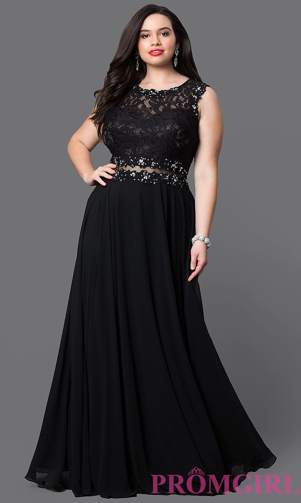 Image of long plus prom dress with sheer-waist lace bodice