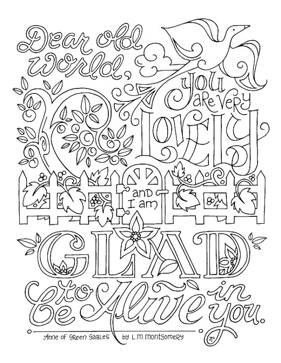 Anne Of Green Gables Coloring Page Lm Montgomery