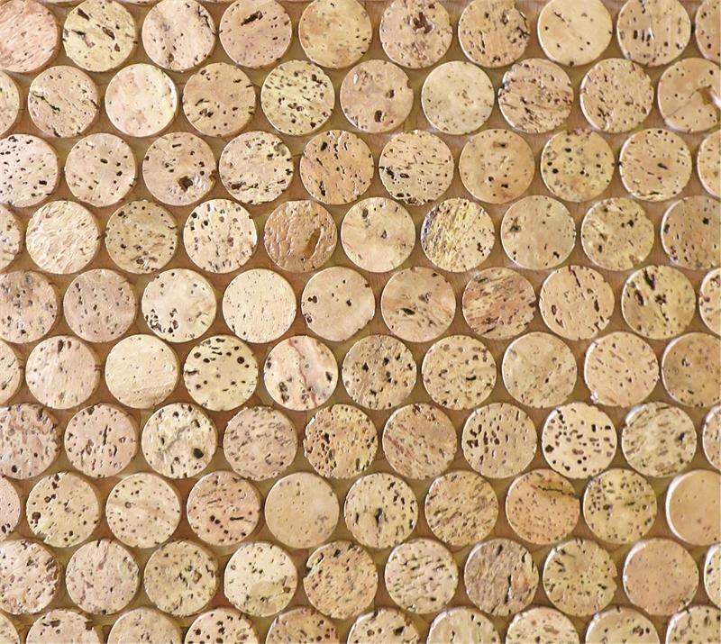 Cork Mosaic Penny Round Tile Corkdotz For Kitchen Backsplash Or Floor Tile
