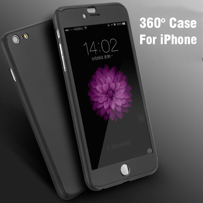 For iPhone 6 6S 6Plus 4.7/ 5.5 Case FLOVEME 360 Degree Hard PC Protective Back Cover Full Protect + Glass Protector For Iphone 6