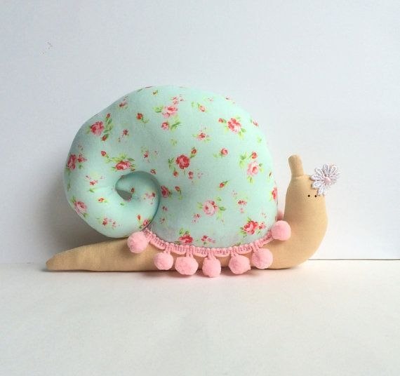 Snail toy, plush Snail doll, animal child friendly baby softie in floral blue / pink roses shell. Toy and nursery decor. Perfect gift