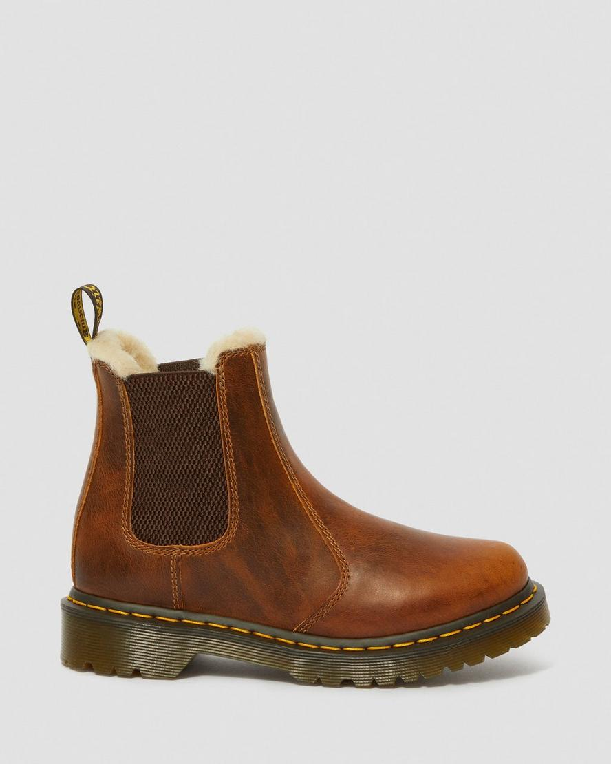 Dr. Martens 2976 Women's Faux Fur Lined Chelsea Boots in Dark Brown Burnished Wyoming