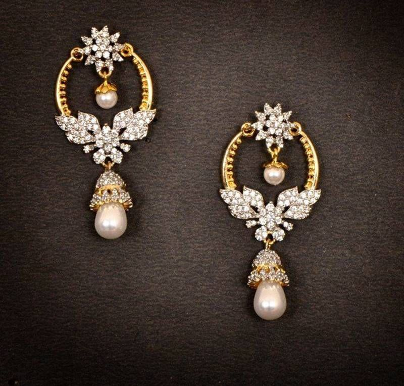 Gold diamond chand bali earrings | Antique jewellery online ...