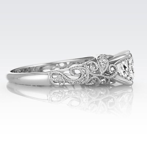 9f6c574ece0541 Vintage Diamond Engagement Ring in 14k White Gold | GETTIN' MARRIED ...