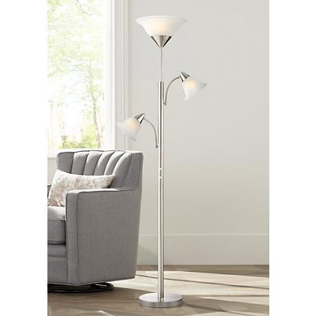 Jordan Brushed Nickel Tree Torchiere 3 Light Floor Lamp 1y325 Lamps Plus Torchiere Floor Lamp Cheap Floor Lamps Floor Lamp Styles