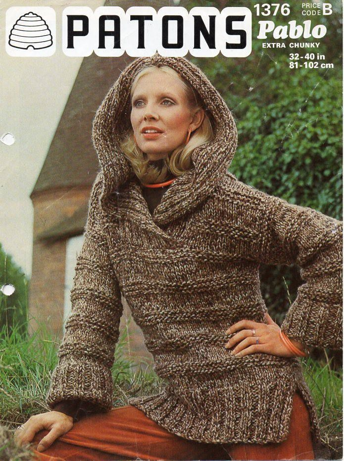 30a017ea7daaa ladies hooded sweater knitting pattern pdf super chunky womens overshirt  vintage 70s 32-40