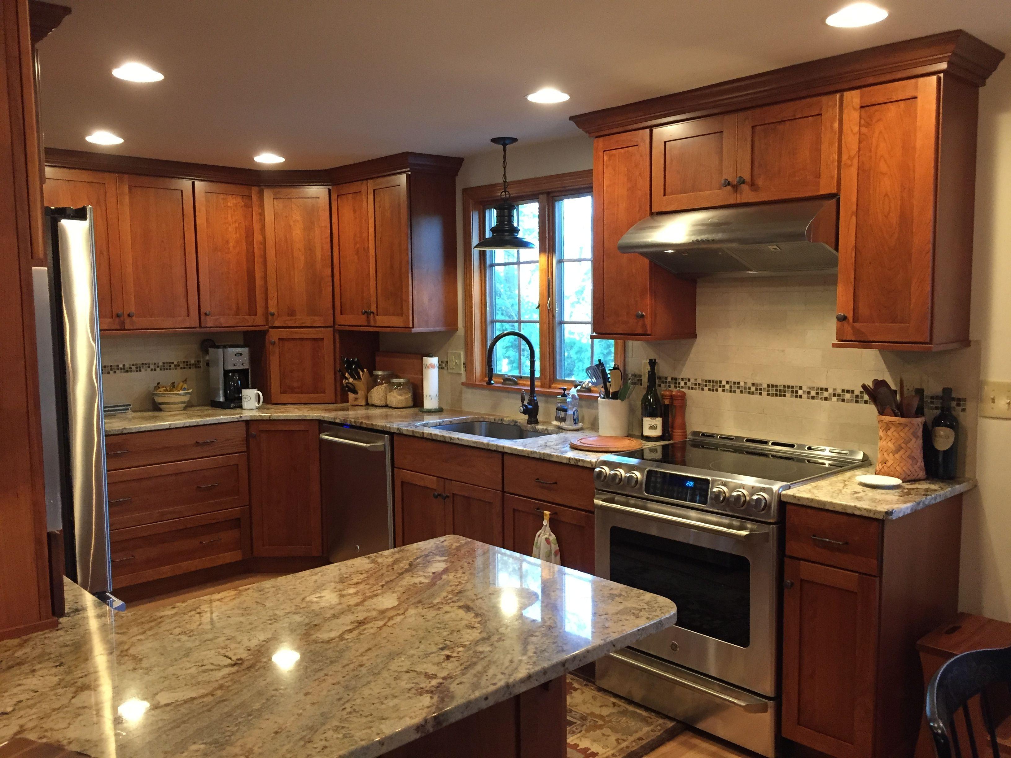 "Dynasty ""Plainfield"" Cherry Nutmeg Kitchen cabinetry with ... on Typhoon Bordeaux Granite Backsplash Ideas  id=18315"