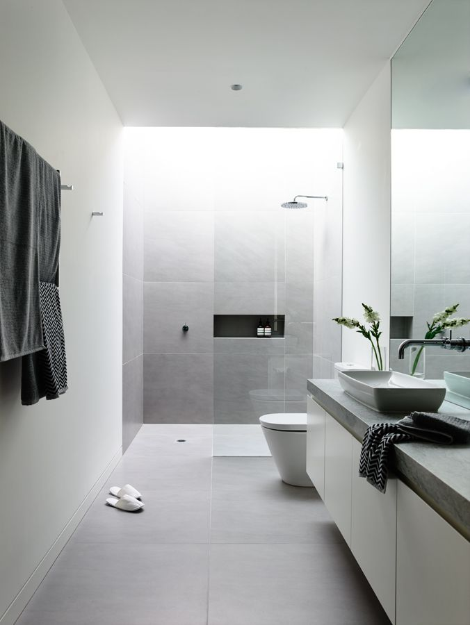 Minimalist Style White Bathroom   Robinson Display Home | Canny Large  Format Tile Part 48