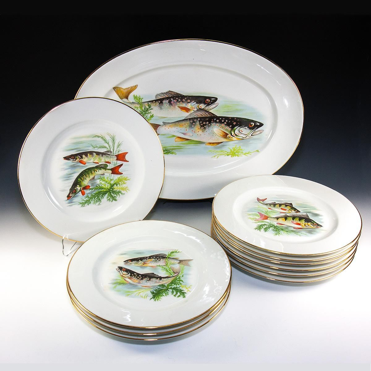 10 Fine Vintage Limoges Fish Plates and 1 Large Platter Hand Painted from antiques- & 10 Fine Vintage Limoges Fish Plates and 1 Large Platter Hand ...