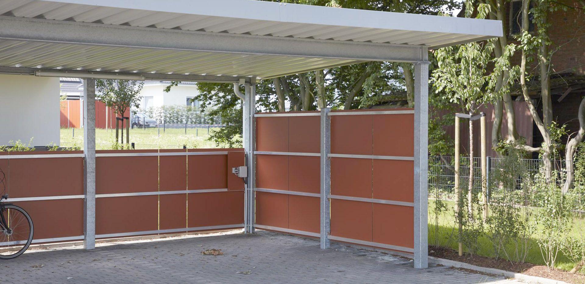 Carport aus Stahl, Konstruktion feuerverzinkt, Seitenwände