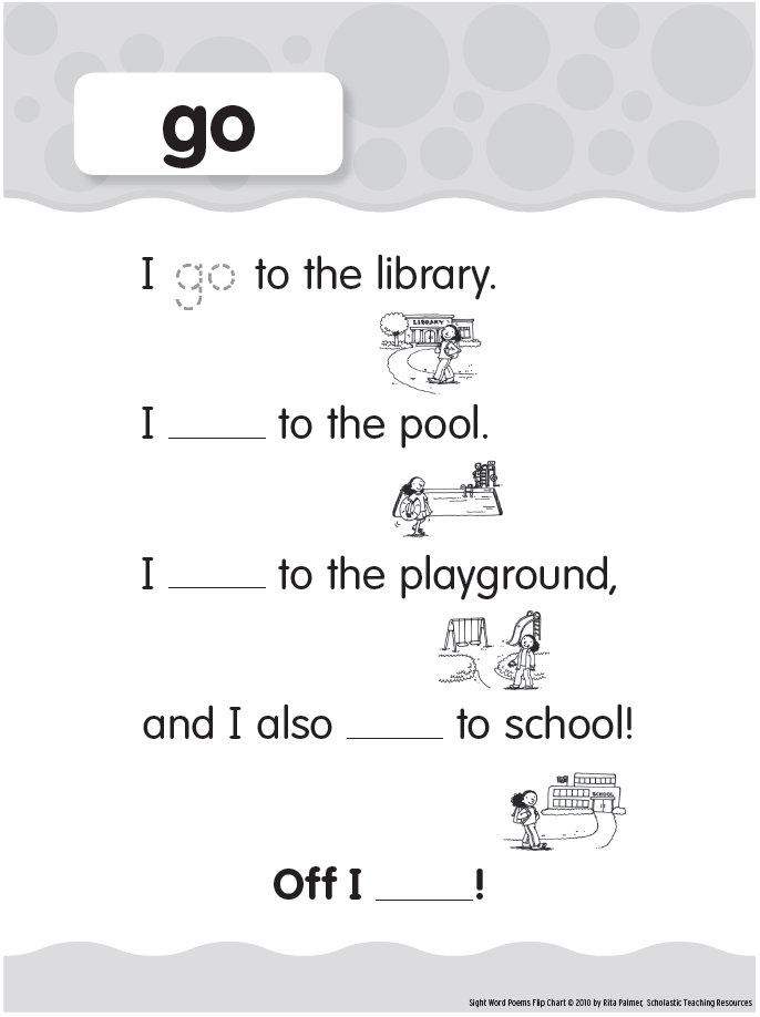 pre primer sight words go printable