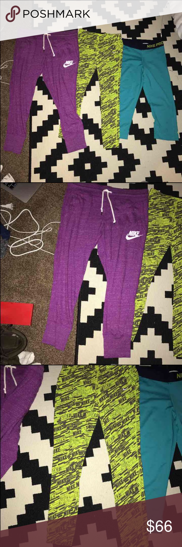 Nike leggings Purple Nike cotton joggers  New with tags  Very soft very comfortable  size S    Lime green Nike printed leggings  Never worn but no tags  Size S    blue spandex Nike pro  Worn once or twice  Size XS but fits a S Nike Pants Leggings