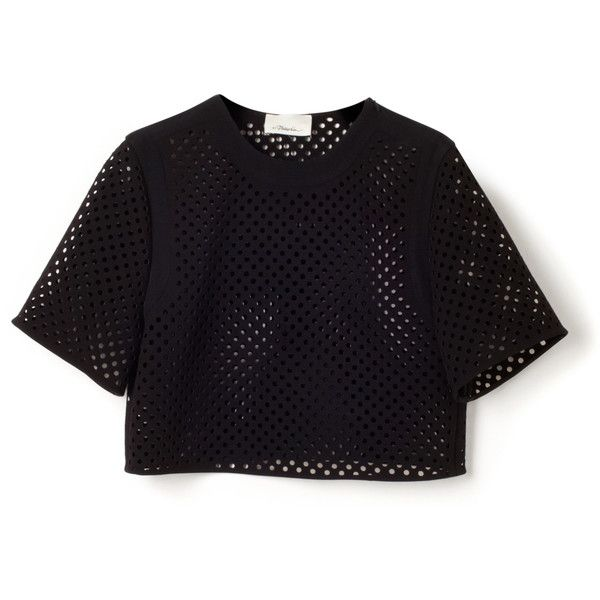 Double Crepe Suiting Cropped Blouse | Moda Operandi (€410) ❤ liked on Polyvore featuring tops, blouses, crop top, laser cut top, cropped tops, dot top, crepe top and dot blouse