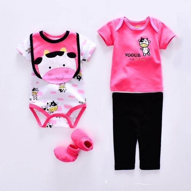 0af21566fd55 Summer baby clothing Set cotton 5pcs Cute Elephant Lion style romper ...