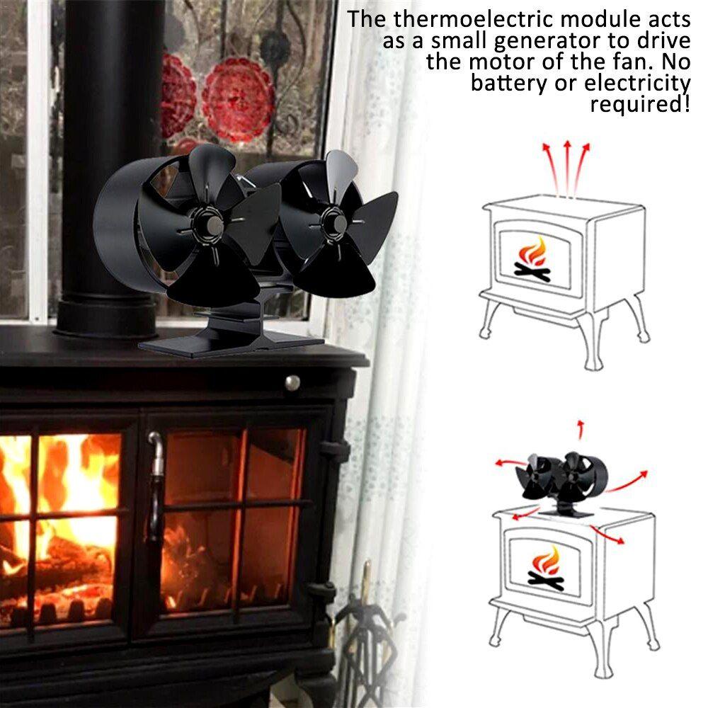 Stove Fan Efficient Double Black 8 Blade Fireplace Fan Heat