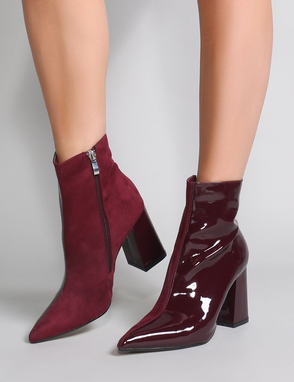 3582eecd9b2 Chaos Contrast Pointed Toe Ankle Boots in Burgundy Patent and Faux ...