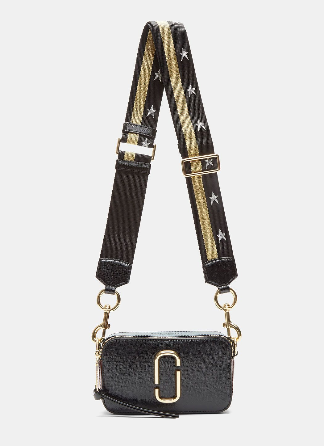 MARC JACOBS Women S Snapshot Star Strapped Crossbody Camera Bag In Black.   marcjacobs  bags  shoulder bags  leather  crossbody  metallic   15a8d2a74aebb