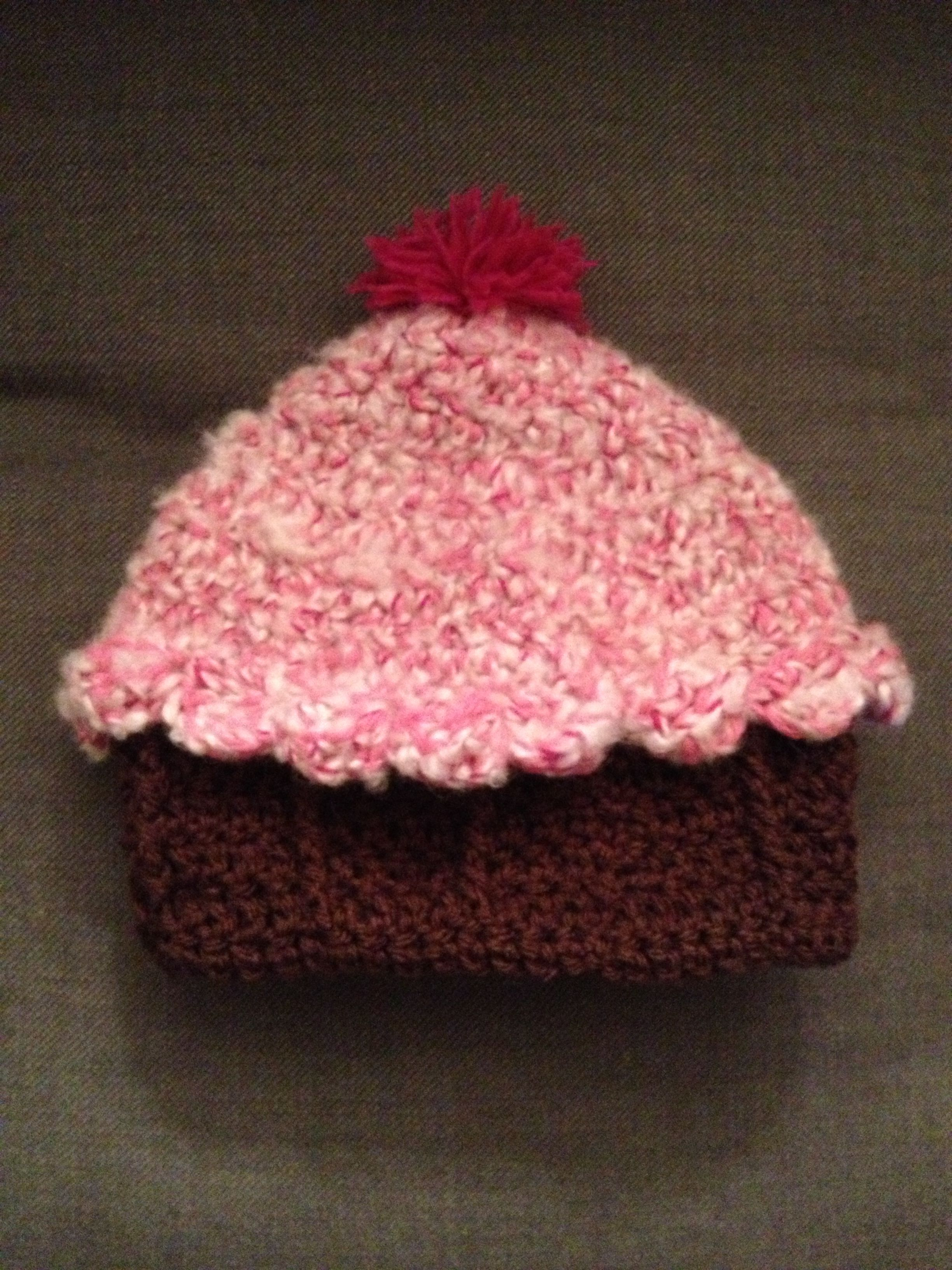 Kids crocheted cupcake hat