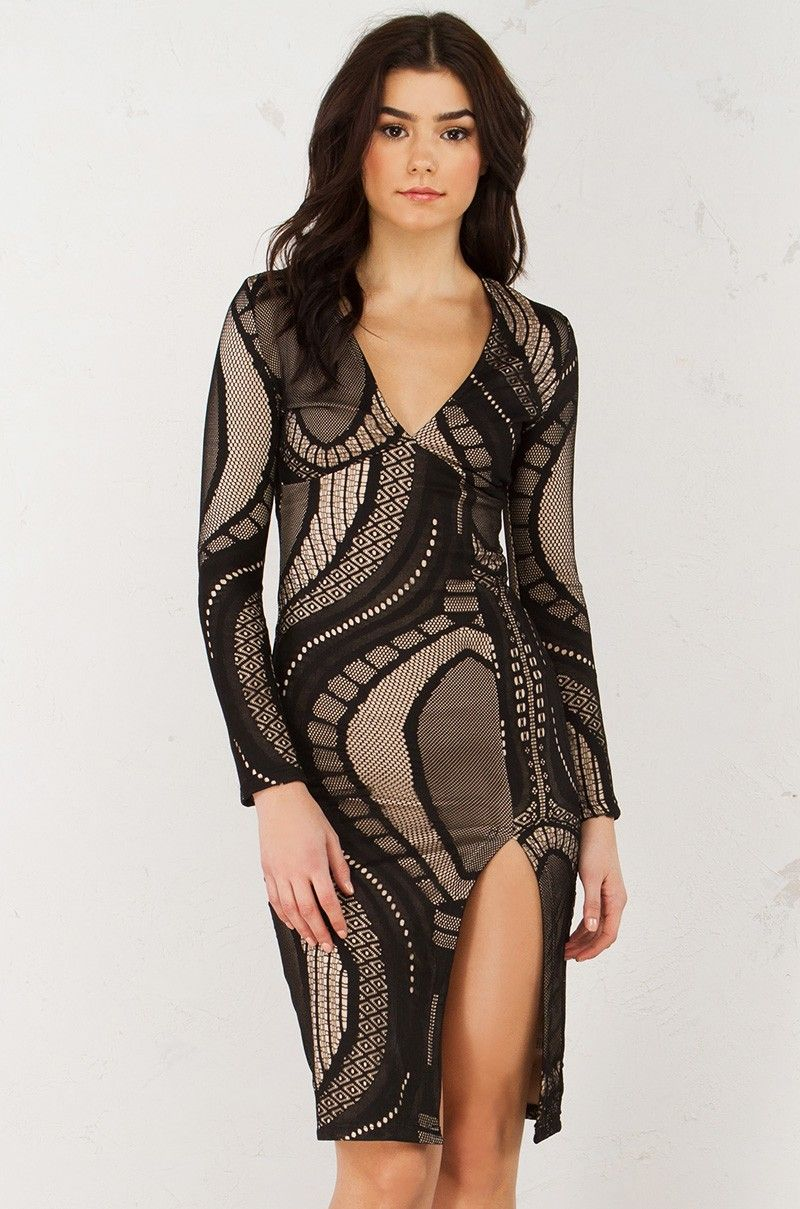 Front view lace bandage dress in black nude akira pinterest