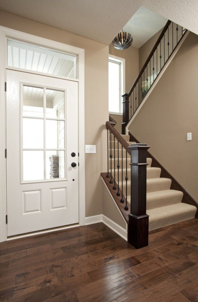 Valspar Iced Chocolate Walls She Links To Colors On Page LOVE The Wall Color Here With White Trim And Dark Wood Floor Stair Rail