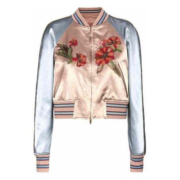 Valentino mytheresa.com Online Exclusive Embellished Satin Bomber... (89.185 ARS) ❤ liked on Polyvore featuring outerwear, jackets, valentino jacket, satin bomber jacket, bomber style jacket, flight jacket and pink satin jacket