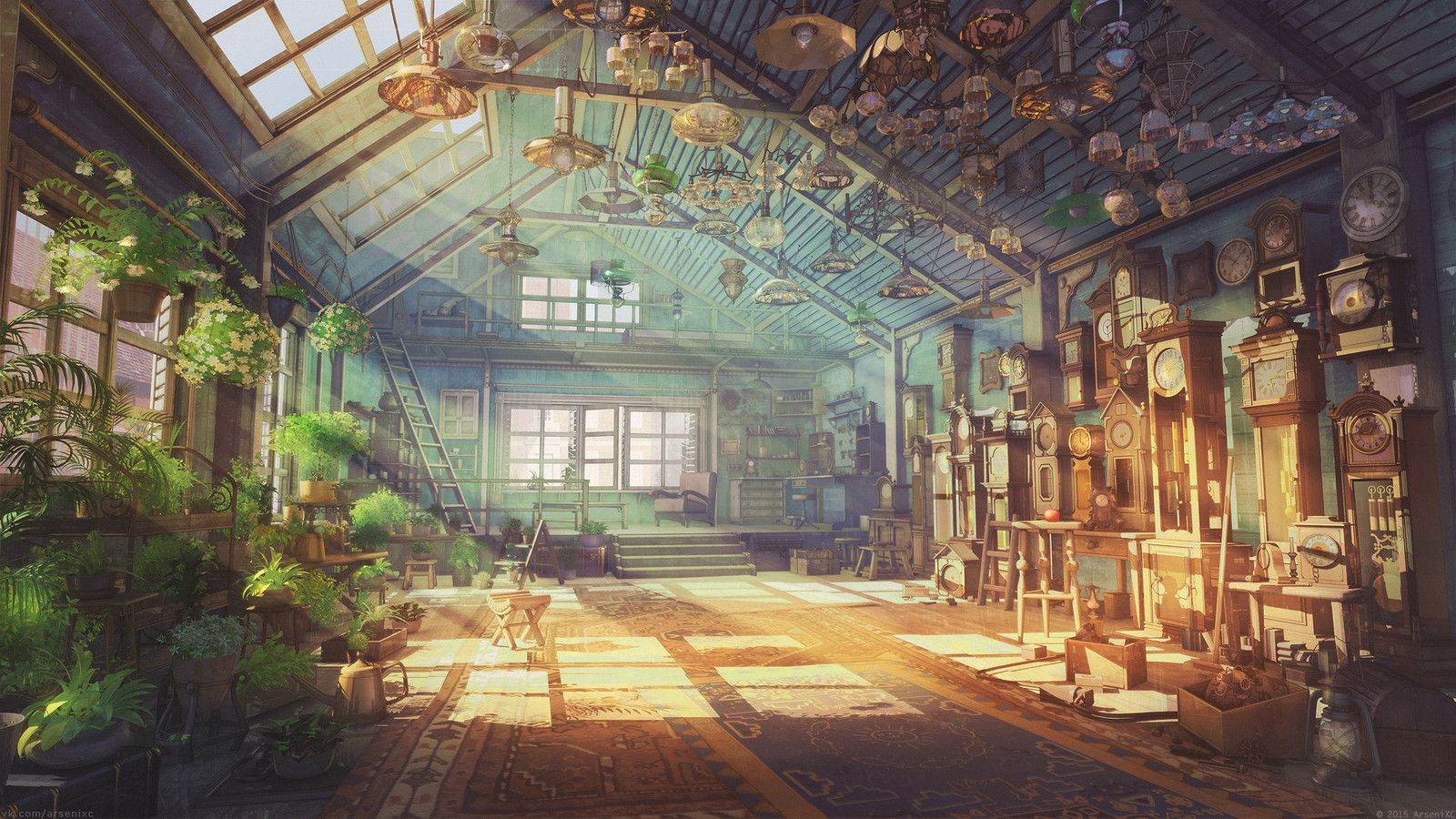 Watchmaker house, Arseniy Chebynkin on ArtStation at https://www.artstation.com/artwork/JwkBv