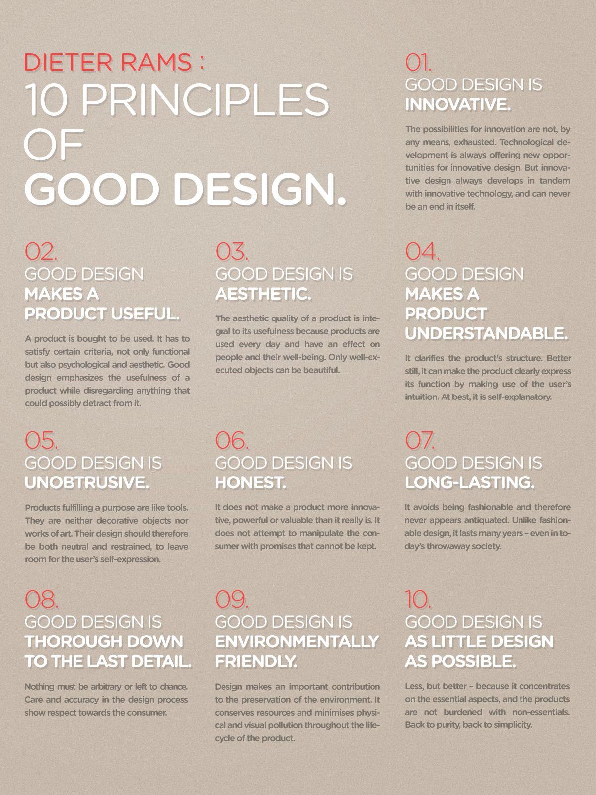 dieter rams 10 principles of good design poster design. Black Bedroom Furniture Sets. Home Design Ideas